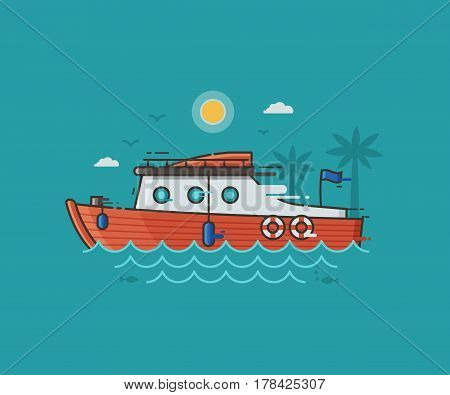 Red racing yacht on seaside background. Motor boat on water waves. Sport yachting concept vector illustration in flat design. Modern speedboat riding fast on seashore landscape.