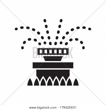 Garden sprinkler icon in outline design. Automatic lawn watering system silhouette vector illustration.