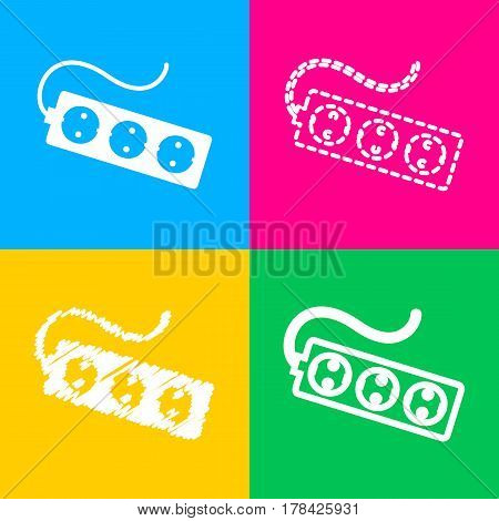 Electric extension plug sign. Four styles of icon on four color squares.