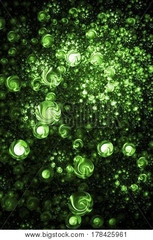 Abstract Intricate Spiral Texture In Bright Green Colors. Digital Fractal Art. 3D Rendering.