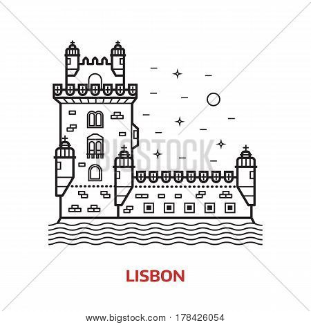 Travel Lisbon landmark icon. Belem tower is one of the famous tourist attractions in the capital of Portugal. Thin line portuguese sea fortress vector illustration in outline design.