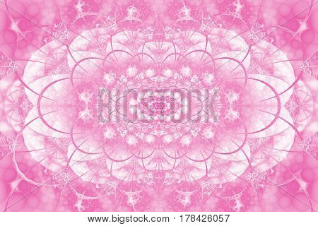 Abstract Intricate Lacy Ornament In Pink Colors. Fantasy Fractal Background. Digital Art. 3D Renderi