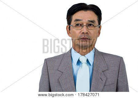 Portrait of worried asian businessman on white background