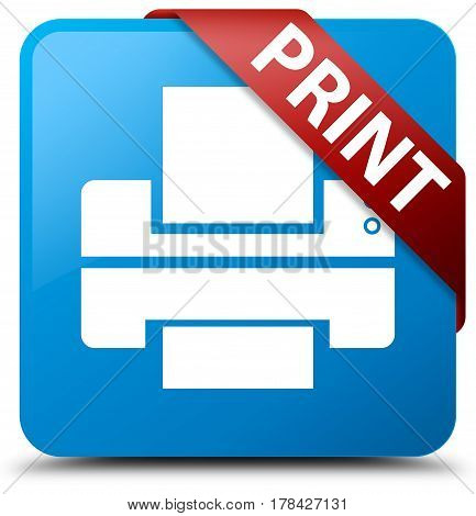 Print (printer Icon) Cyan Blue Square Button Red Ribbon In Corner