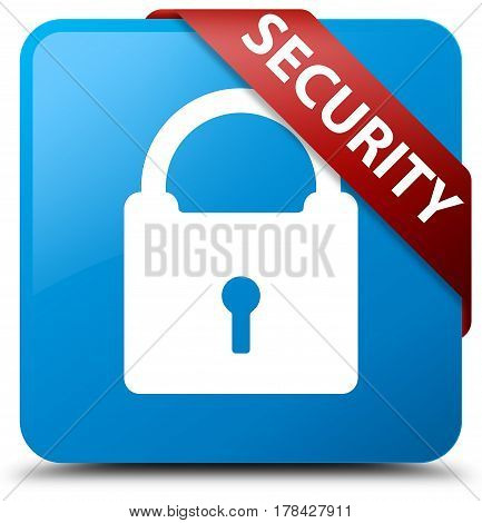 Security (padlock Icon) Cyan Blue Square Button Red Ribbon In Corner
