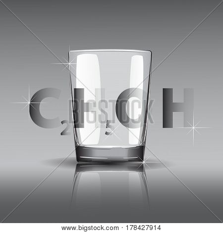 3D Faceted Glass Of Alcohol. The Chemical Formula Of Alcohol. Russian Vodka