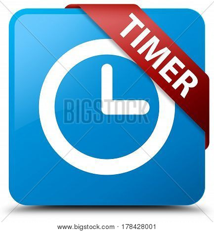 Timer Cyan Blue Square Button Red Ribbon In Corner