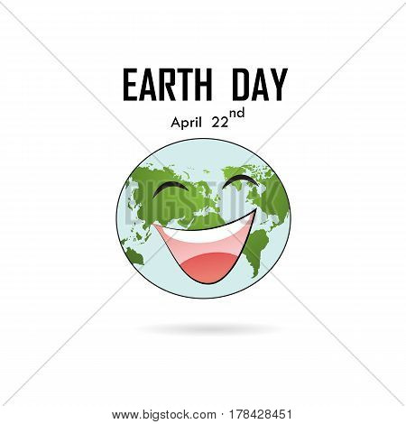 Happy Earth Day April 22 with globe cute character.Earth Day campaign idea concept.Earth Day idea campaign for greeting CardPosterFlyerCoverBrochureAbstract background.Vector illustration