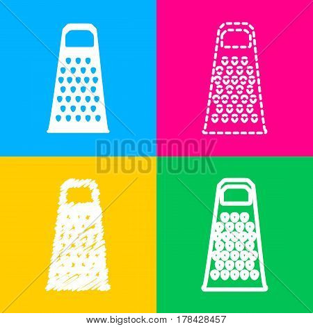 Cheese grater sign. Four styles of icon on four color squares.