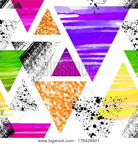 Abstract Watercolor Triangle Seamless Pattern. Triangles With Ornament