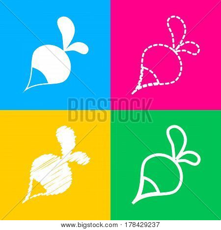 Radish simple sign. Four styles of icon on four color squares.