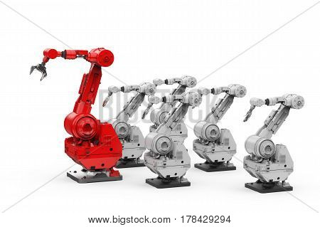 Red Robotic Arm As A Leader