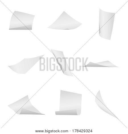 Flying, falling office white paper sheets vector set. Paper flight, illustraion of flying sheet paper