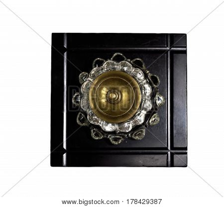 Antique crystal inkwell on stony black background