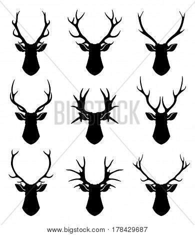 Deer horns, reindeer heads vector silhouettes set. Animal deer black silhouette, illustration of wild deer