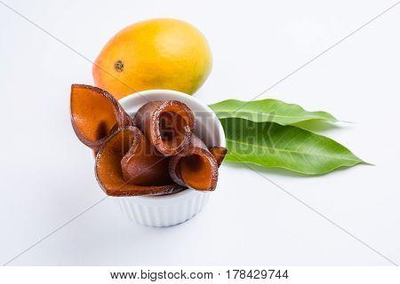 indian alphonso mango's dried jelly called mango papad or mango poli or slab or cake, traditional maharashtrian recipe