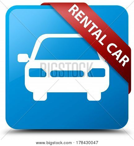 Rental Car Cyan Blue Square Button Red Ribbon In Corner