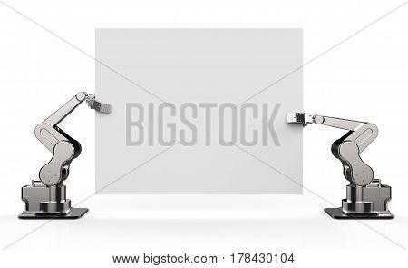 Robot Arm Holding White Blank Paper