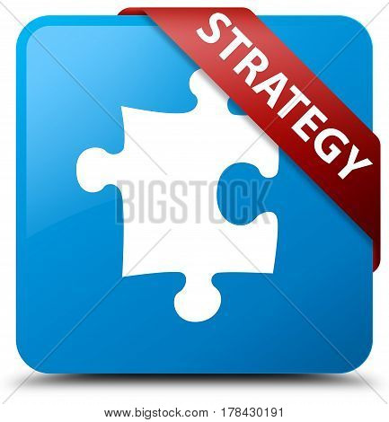 Strategy (puzzle Icon) Cyan Blue Square Button Red Ribbon In Corner