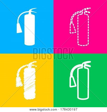 Fire extinguisher sign. Four styles of icon on four color squares.