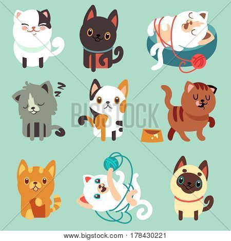 Cute cartoon cats, funny playful kittens vector set. Pet funny kitty, illustration of character happy play kitten