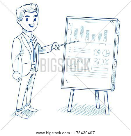 Happy businessman explains product sales chart. successful strategy business vector concept hand drawn, doodle vector illustration. Presentation new product sale chart, successful strategy sale for business
