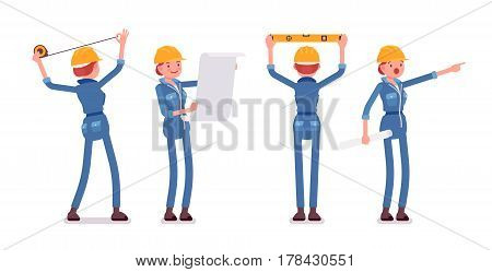 Set of female professional worker, wearing yellow protective hardhat, blue suit, doing measurement, planning with spirit level and tapeline, full length, front, rear view, isolated, white background
