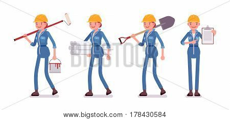 Set of female smiling professional worker in yellow protective hardhat, blue builder suit, holding painting roller, shovel, wallpaper rolls, pointing to plan, full length, isolated, white background