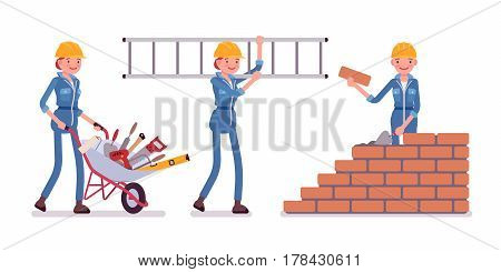 Set of female construction worker in a yellow protective hardhat, blue suit, carrying a wheel barrow with tools, a ladder, builder laying bricks in wall, full length, isolated, white background