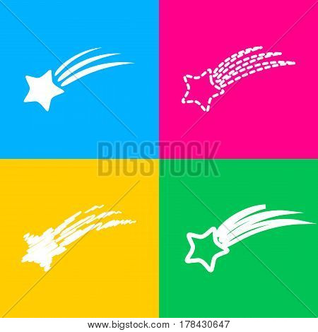 Shooting star sign. Four styles of icon on four color squares.