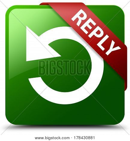 Reply (rotate Arrow Icon) Green Square Button Red Ribbon In Corner