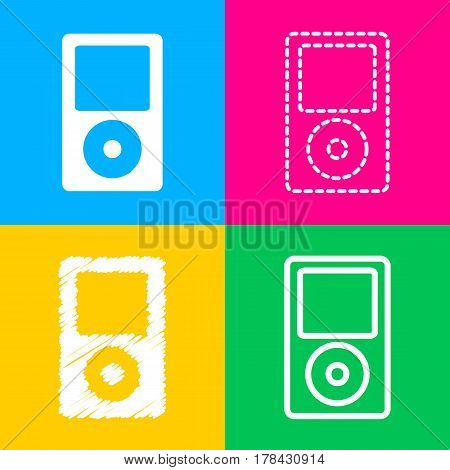 Portable music device. Four styles of icon on four color squares.