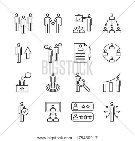 Team work line icons and management linear vector signs. Business management icons, illustration business teamwork