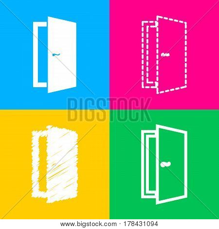 Door sign illustration. Four styles of icon on four color squares.