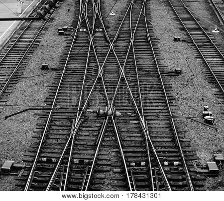Railway Junction Background. Top view black and white background