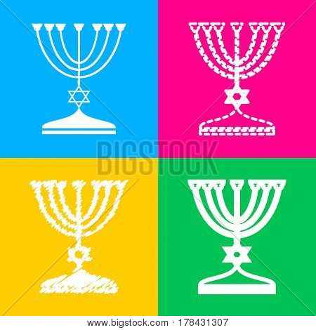 Jewish Menorah candlestick in black silhouette. Four styles of icon on four color squares.