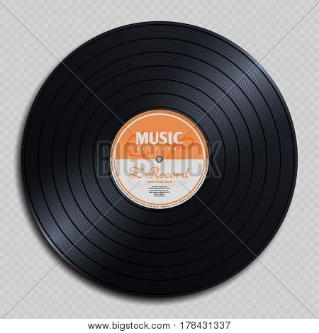 Audio analogue record vinyl vintage disc isolated on transparent background vector illustration. Audio classic plastic disc for gramophone