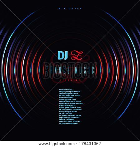 Dance music club party vector poster with dj mixing vinyl disc. Disco techno trance music, illustration of electronic trance mixing audio