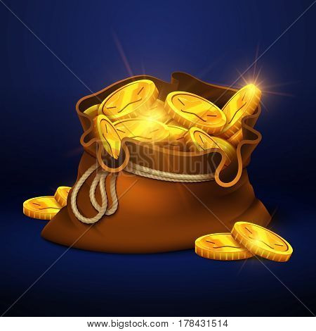 Cartoon big old bag with gold coins. Cash prize vector concept. Bag with golden coin, illustration of money bag cartoon
