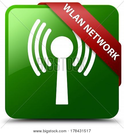Wlan Network Green Square Button Red Ribbon In Corner