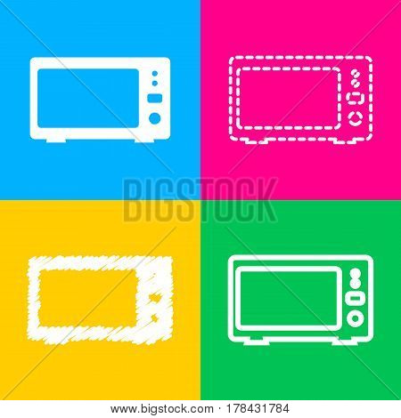 Microwave sign illustration. Four styles of icon on four color squares.