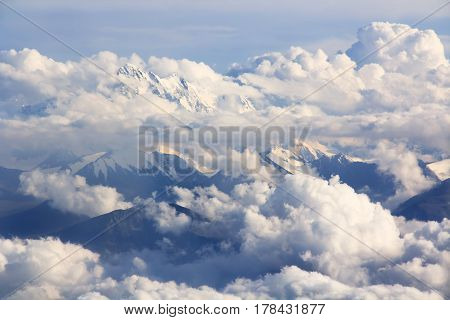Beautiful mountains and clouds landscape - aerial view