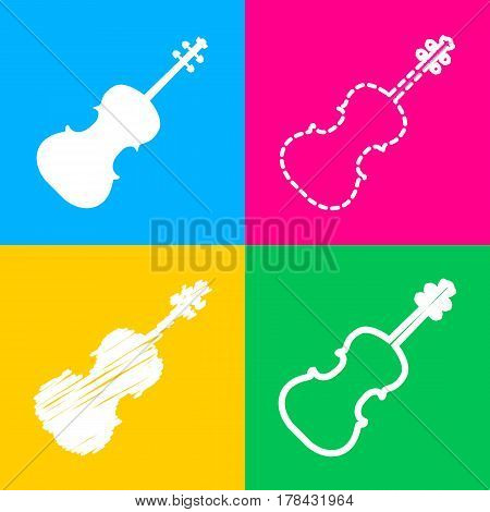 Violine sign illustration. Four styles of icon on four color squares.