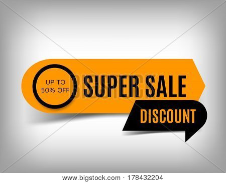 Super sale banner discount tag special offer. Website sticker on a gray abstract background orange web page design. Vector illustration eps10