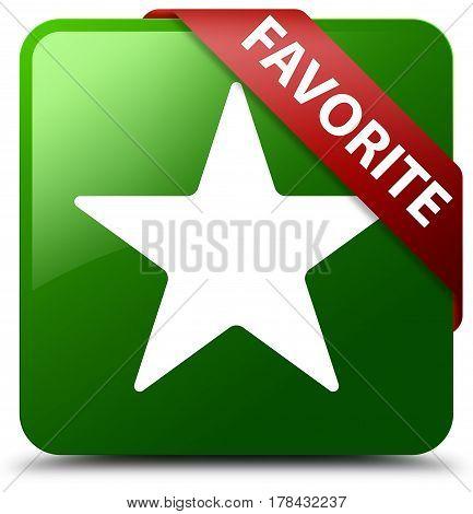 Favorite (star Icon) Green Square Button Red Ribbon In Corner