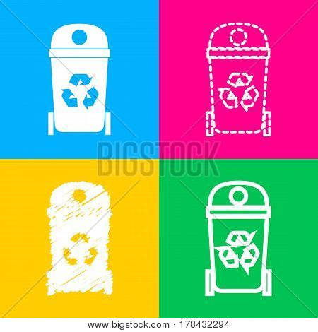 Trashcan sign illustration. Four styles of icon on four color squares.