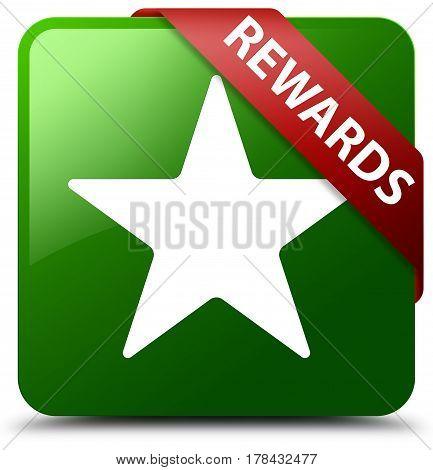 Rewards (star Icon) Green Square Button Red Ribbon In Corner