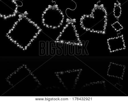 black background with shiny geometric shapes with reflection