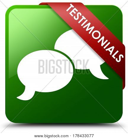 Testimonials (chat Icon) Green Square Button Red Ribbon In Corner