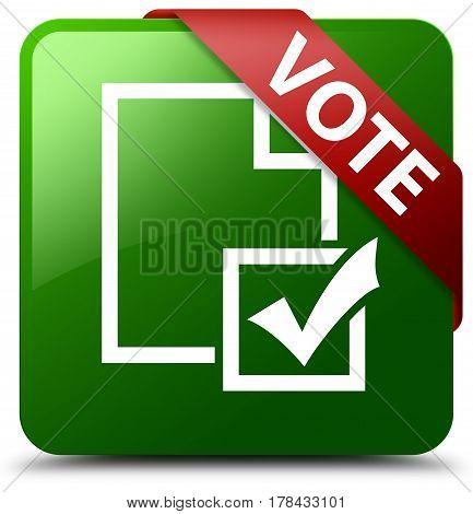 Vote (survey Icon) Green Square Button Red Ribbon In Corner